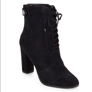 Saks Fifth Avenue Carter Black Suede High Heel Lace Up Ankle Boots Booties 8